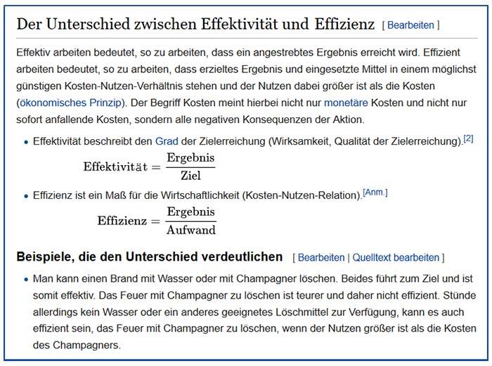 Wikipedia Effizienz